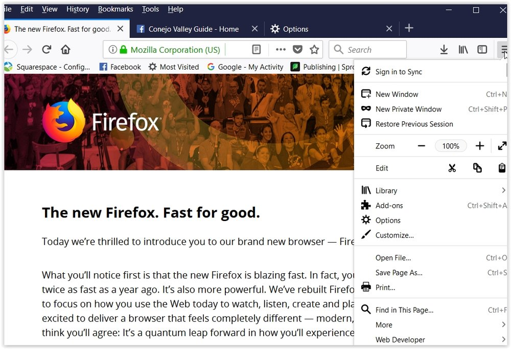 Here's the annoying (to me in any case) browser tabs and menu that came with the new Firefox Quantum. How to change it? Click the menu item and scroll to Customize.