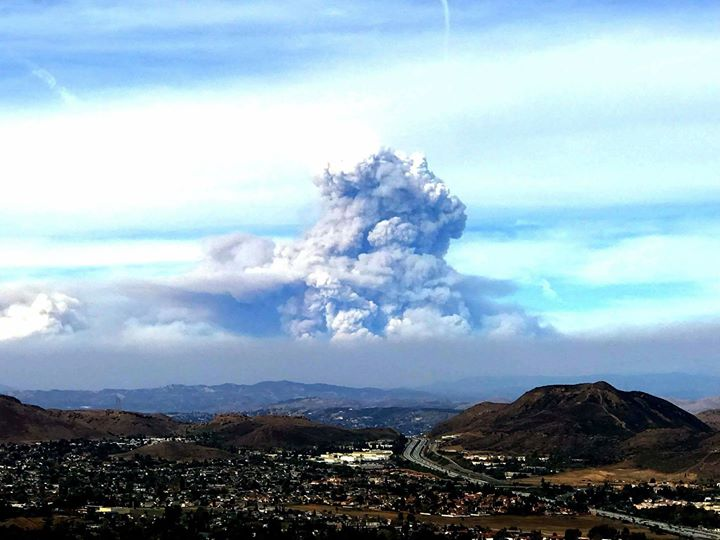 View of the smoke plume coming from the Thomas Fire, as seen from the hills of the Conejo Valley today, Sunday, December 10th (Photo Credit: L. David Irete).