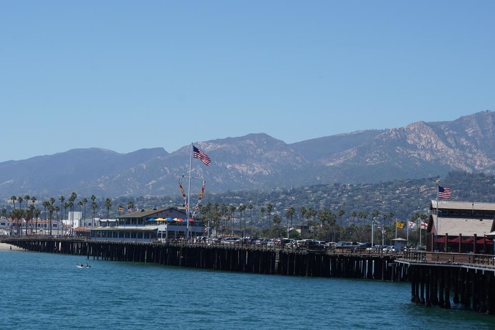 View from the end of Stearns Wharf back toward the mainland.