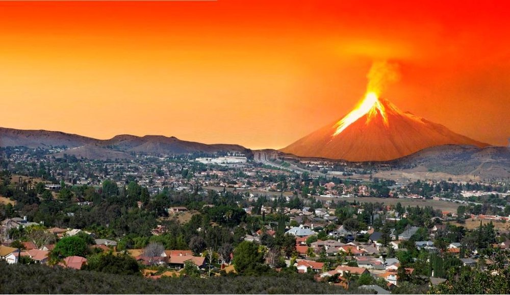 Hill north of the 101 on the Conejo Grade seen erupting as an active volcano this morning after millions of years in dormancy.