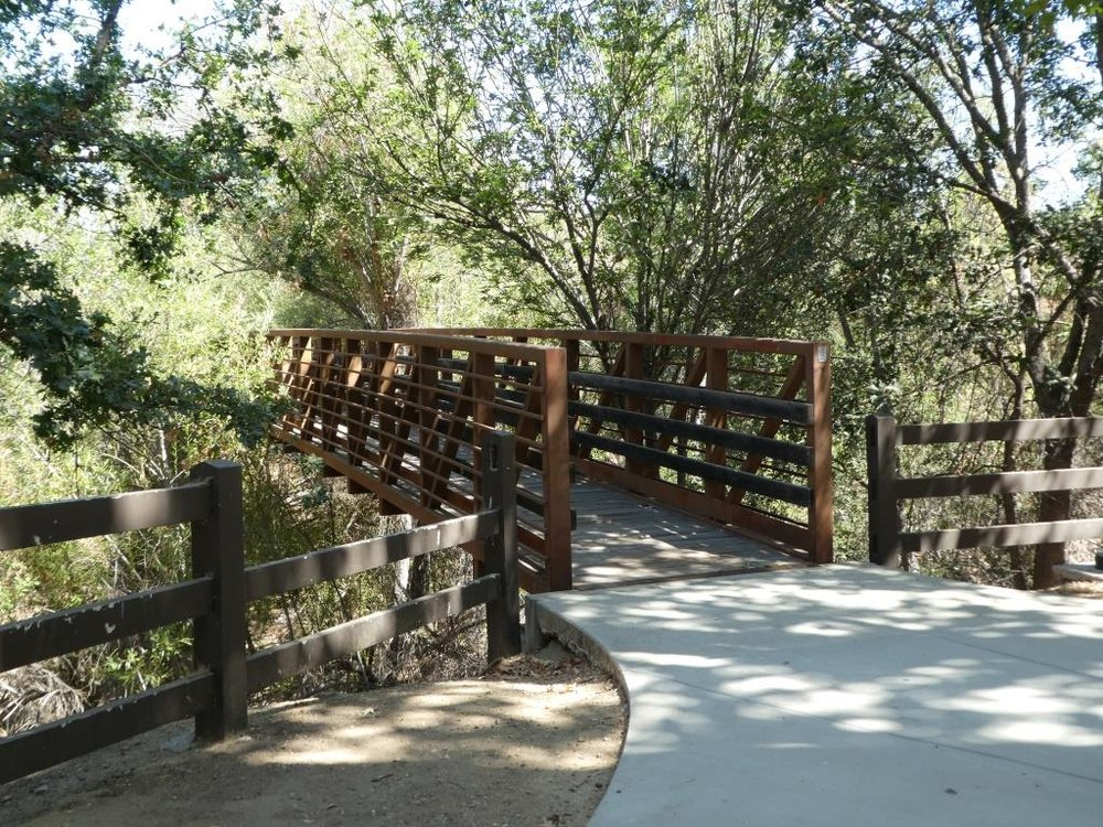 The bridge leading from the Thousand Oaks Library to Conejo Creek Park North.