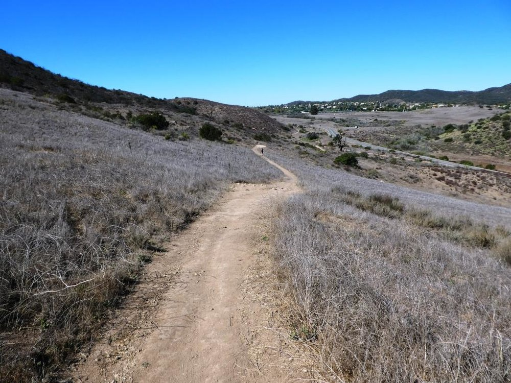This is west of the peak of the Ranch Overlook Trail, a downhill section that takes you towards Rancho Potrero.