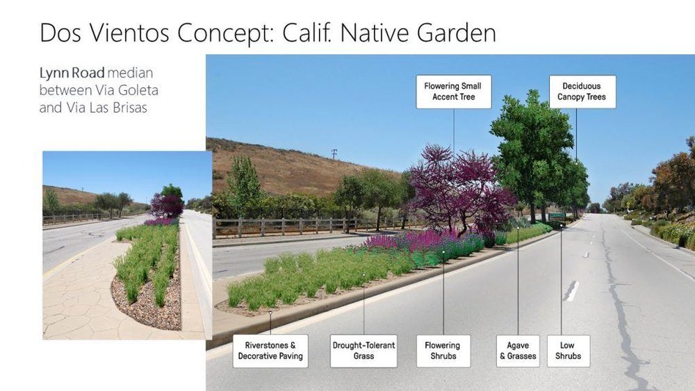 Mock-up of Lynn Road site after new landscaping is planted. (Photo Credit: City of Thousand Oaks)