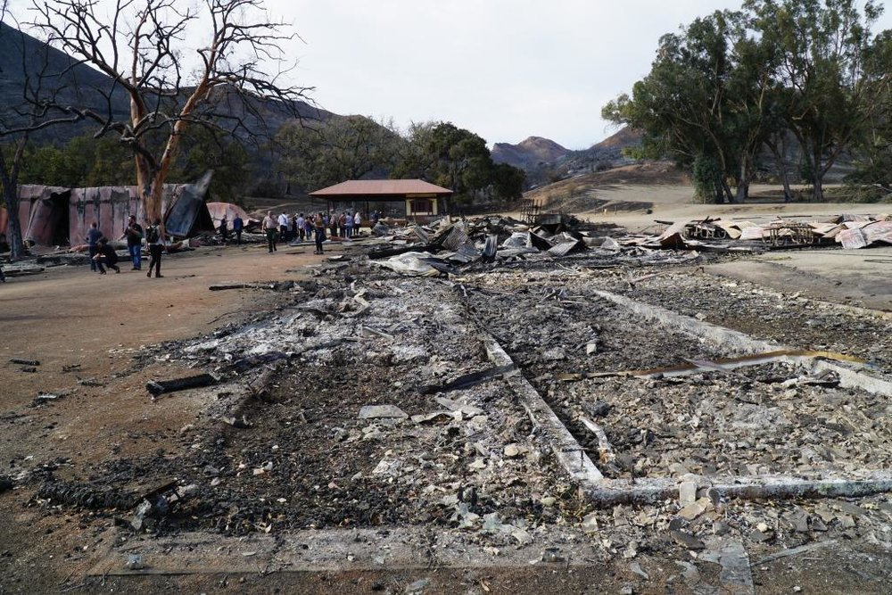 The iconic Western Town at Paramount Ranch was destroyed by the Woolsey Fire of November 2018. The only surviving structures were the church and the train station.