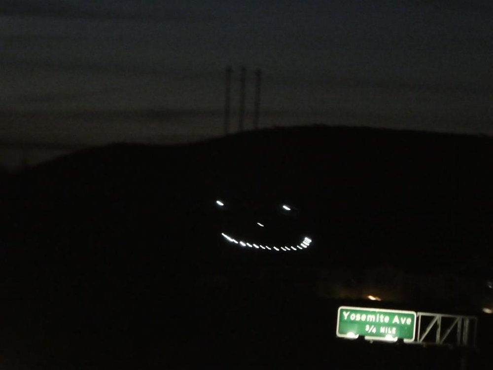 Happy Face Hill in mid-December 2018 looking happier than ever with some nice, bright, apparently new set of LEDs.