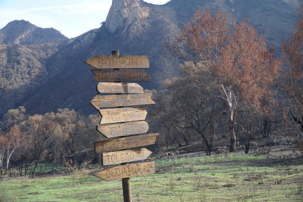 Iconic sign post Woolsey Fire. Faded but still standing!