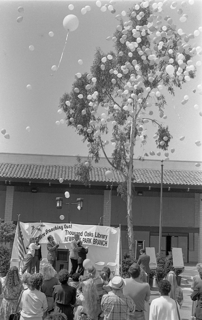 Ground breaking of the Newbury Park Branch Library on March 31, 1990, including City of Thousand Oaks City Council members Alex Fiore and Larry Horner. (Photo Credit: Thousand Oaks Library Conejo Through the Lens collection.)
