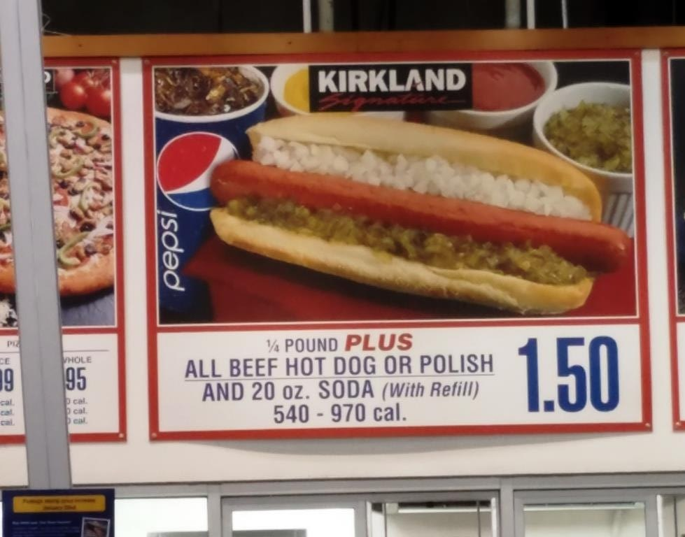 One of my life's guilty pleasures…the $1.50 Costco Hot Dog  and Soda deal.
