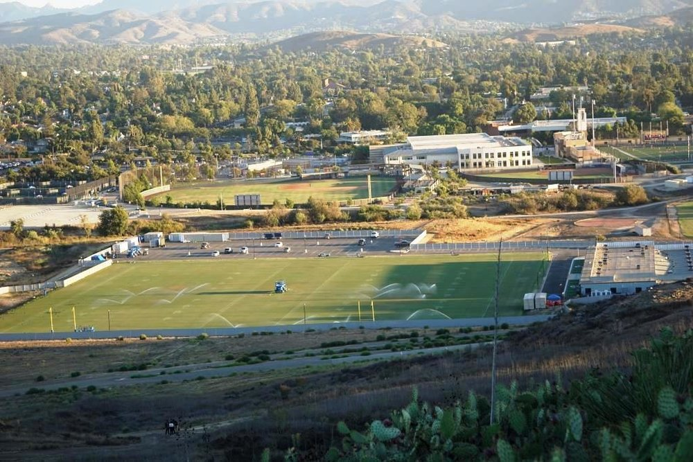 Rams practice facility at Cal Lutheran, seen from the hills above CLU.