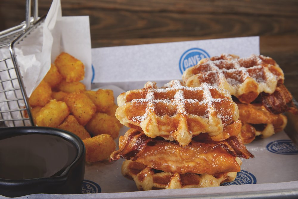 Chicken Waffle Sliders at D&B's