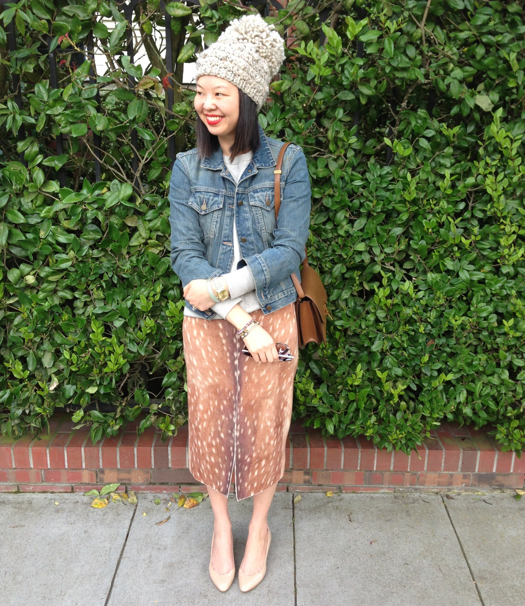 stepcat big pom bobble hat,  carven fawn print skirt, celine box bag