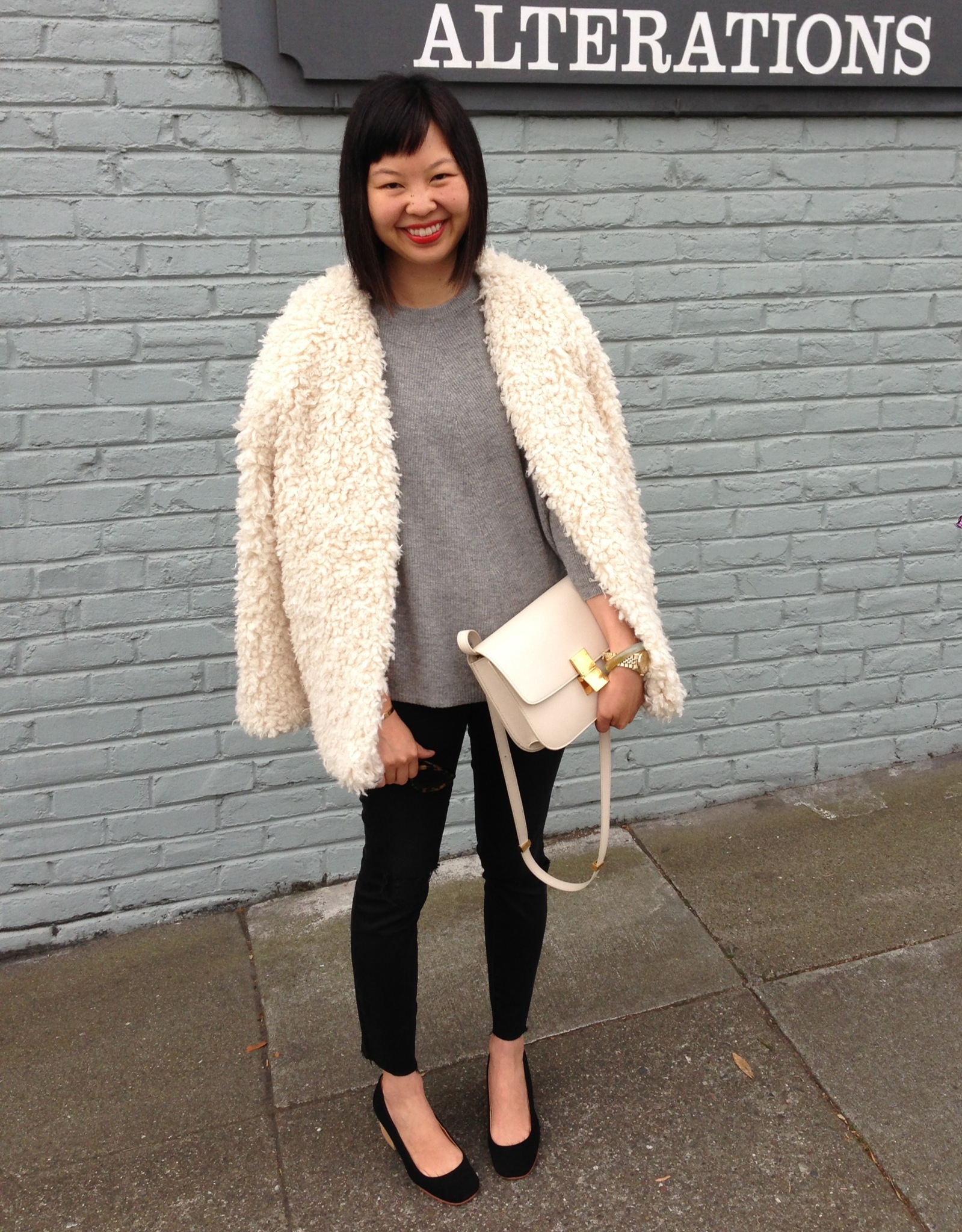 ... h m trend shaggy jacket with ivory celine box bag eff136cb2a174