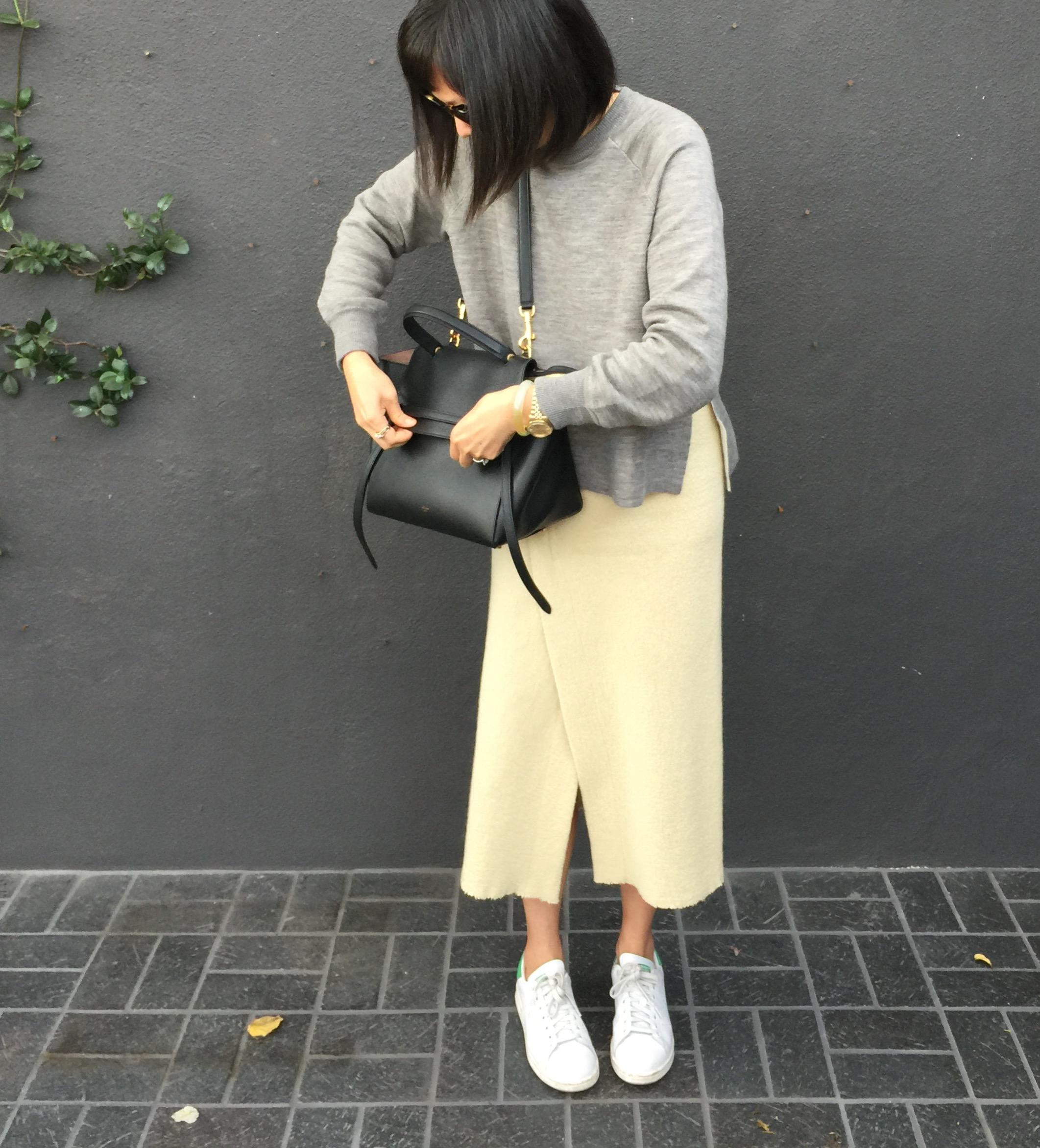 J Crew merino wool side slit sweater Isabel Marant kiara ivory wrap skirt  black Celine belt bag ... 6715d7b869913