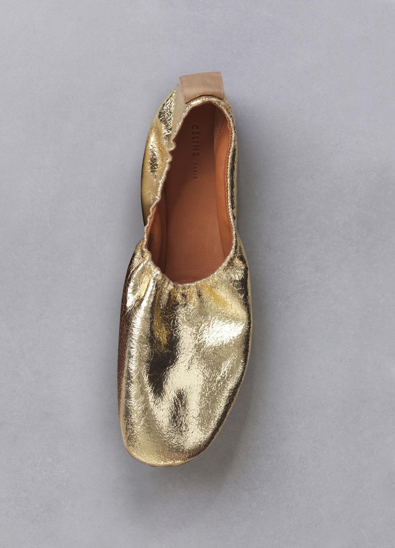 celine metallic gold ballerina flats