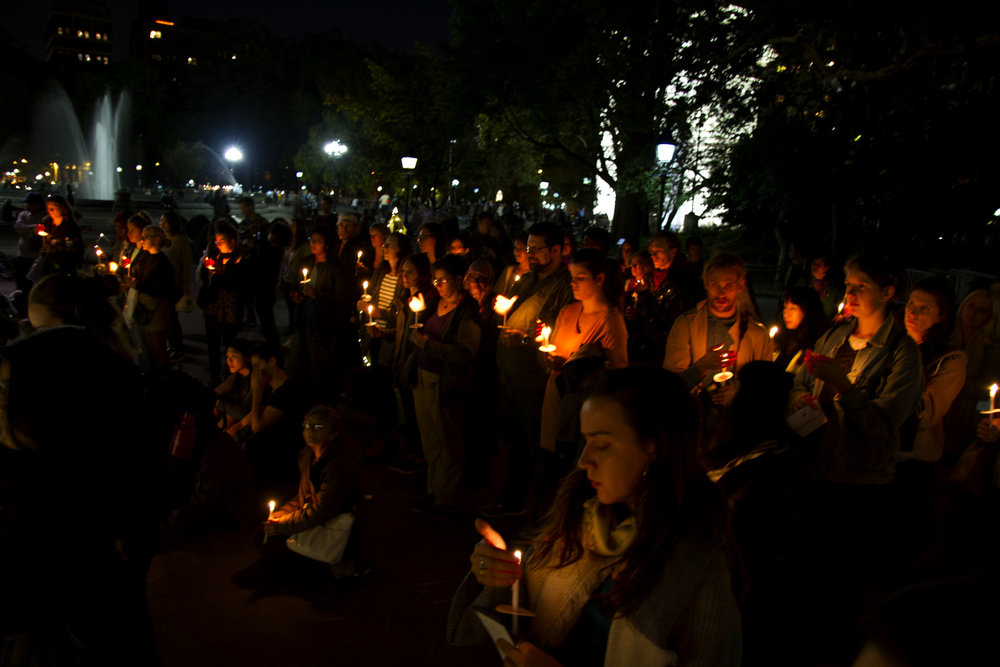 Hundreds of New Yorkers came out to shine a light on domestic abuse