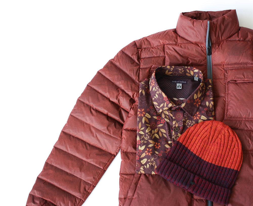 Rust Rock Down Jacket  //  Nigel Shirt in Berry Flora l //  Benny Beanie in Burgundy/Rust