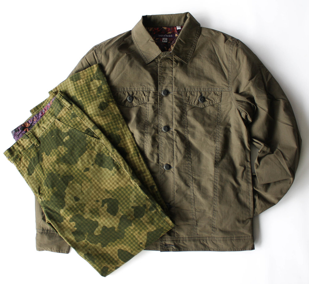 James Trucker Jacket in Olive // Jack Chino in Olive Houndstooth Camo