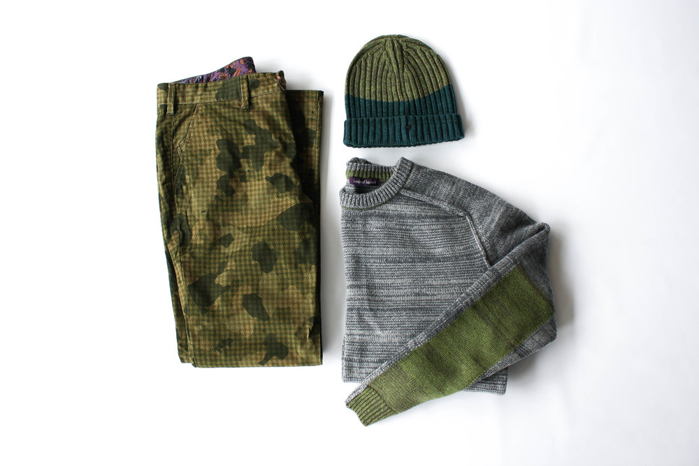 Crosby Crew Sweater in Grey  //  Jack Chino in Olive Houndstooth Camo  //  Benny Beanie in Hunter/Olive