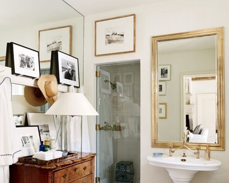 unique picture hanging ideas in a powder room