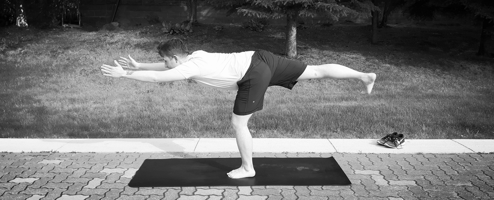 Austin in his number 1 pose, Warrior 3 (Virabhadrasana 3)