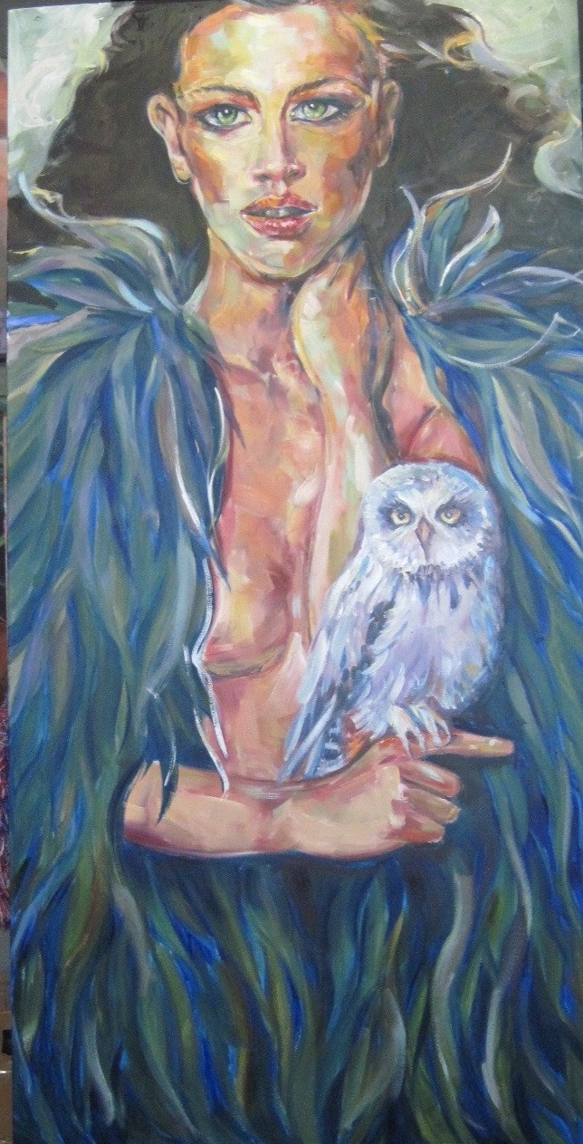 """The Protector"" 48x24 oil on canvas"