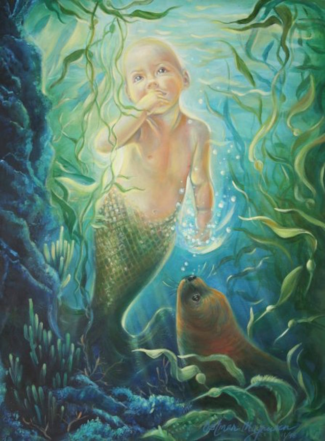 """The Mermaid Baby"" 24x18 oil on canvas"