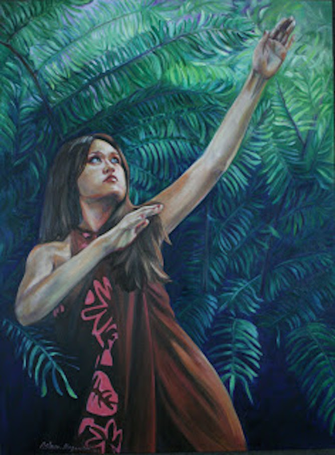 Giant Ferns of Lava Tree Park 48x36x2 oil on canvas