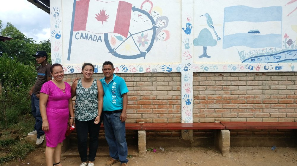 Ashley, our Global Education Co-ordinator, with Don Julio and Doña Evelia, a couple of the community leaders in Jiñocuao