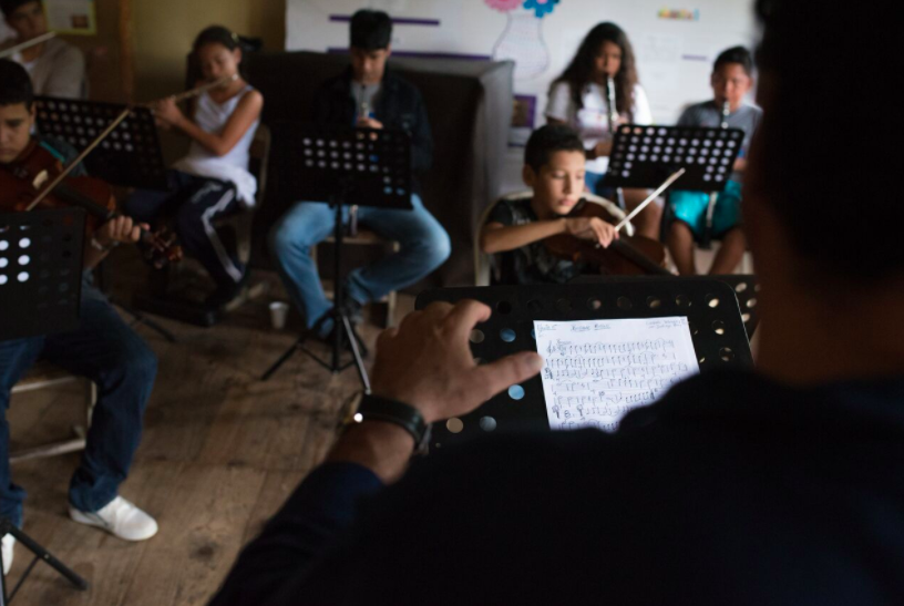 A music class at Christine King Cooperative, 2017