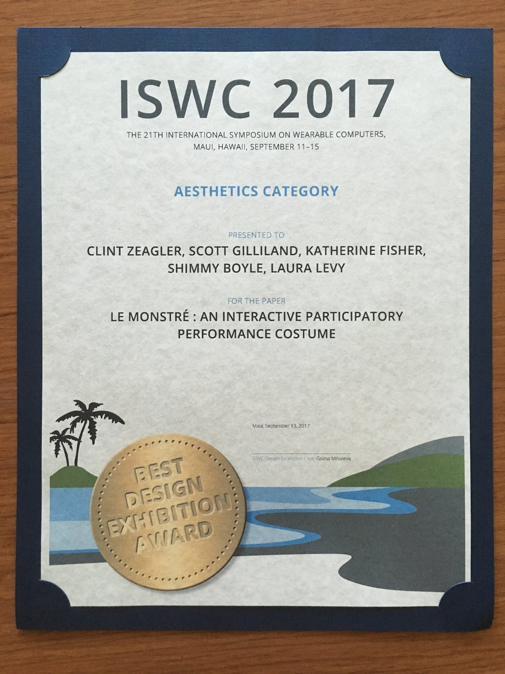Our Creative Collisions project won Best Paper and Juried Design Competition at the 2017 International Symposium on Wearable Computers