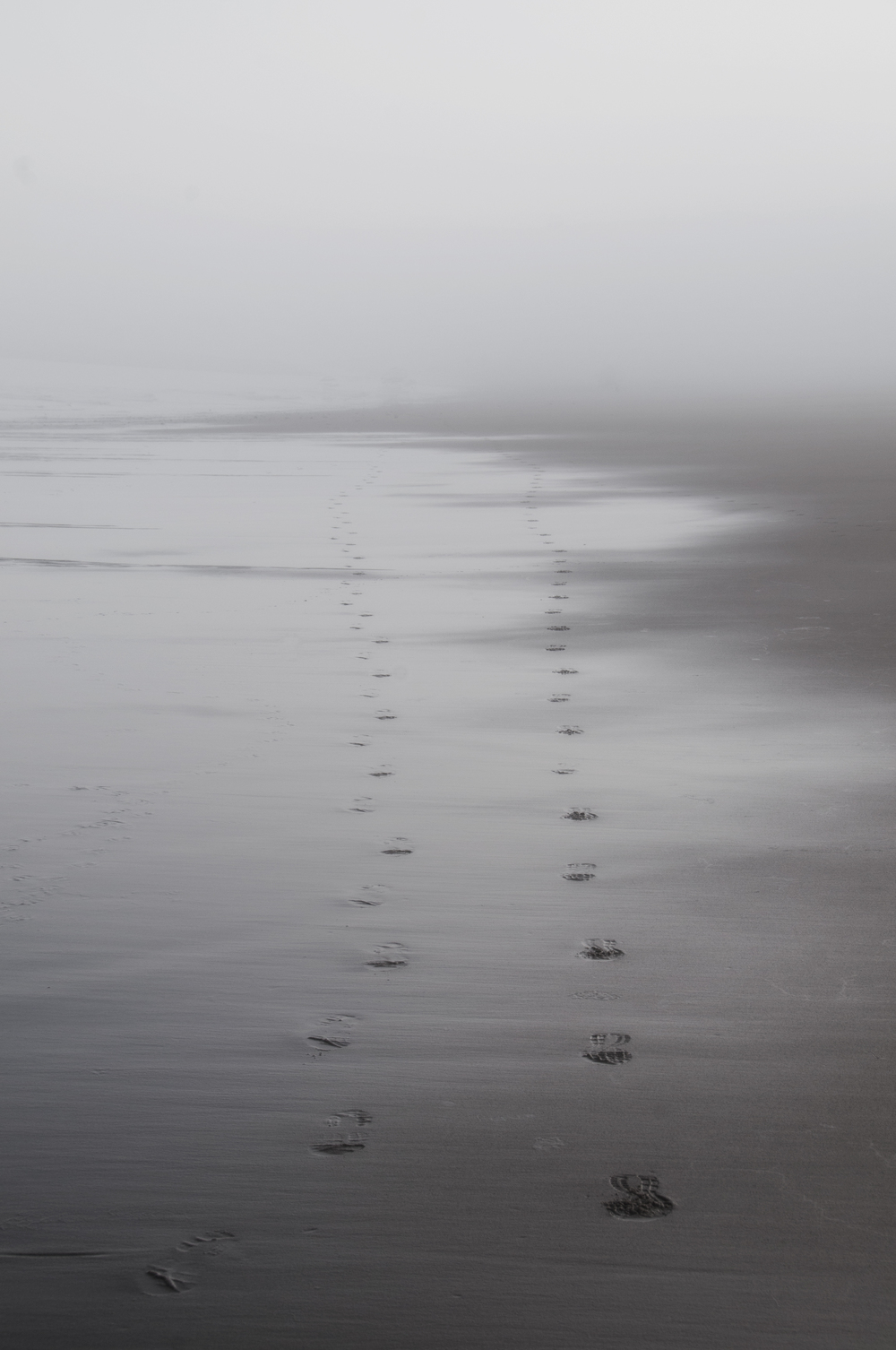"I looked behind me and saw two sets of footprints in the sand. And I was like, ""Dang, nobody's carrying me."" (Lincoln City, Oregon; Aug 2014)"