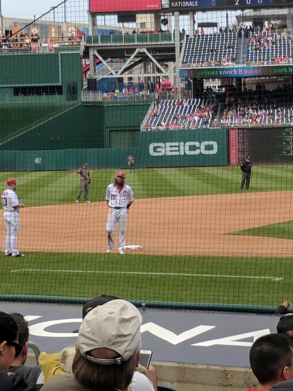 Jayson Werth's overwhelming awesomeness singlehandedly protected all the players and fans from the destructive power of the Diamondbacks' horrible uniforms (Washington, DC; May 2017)