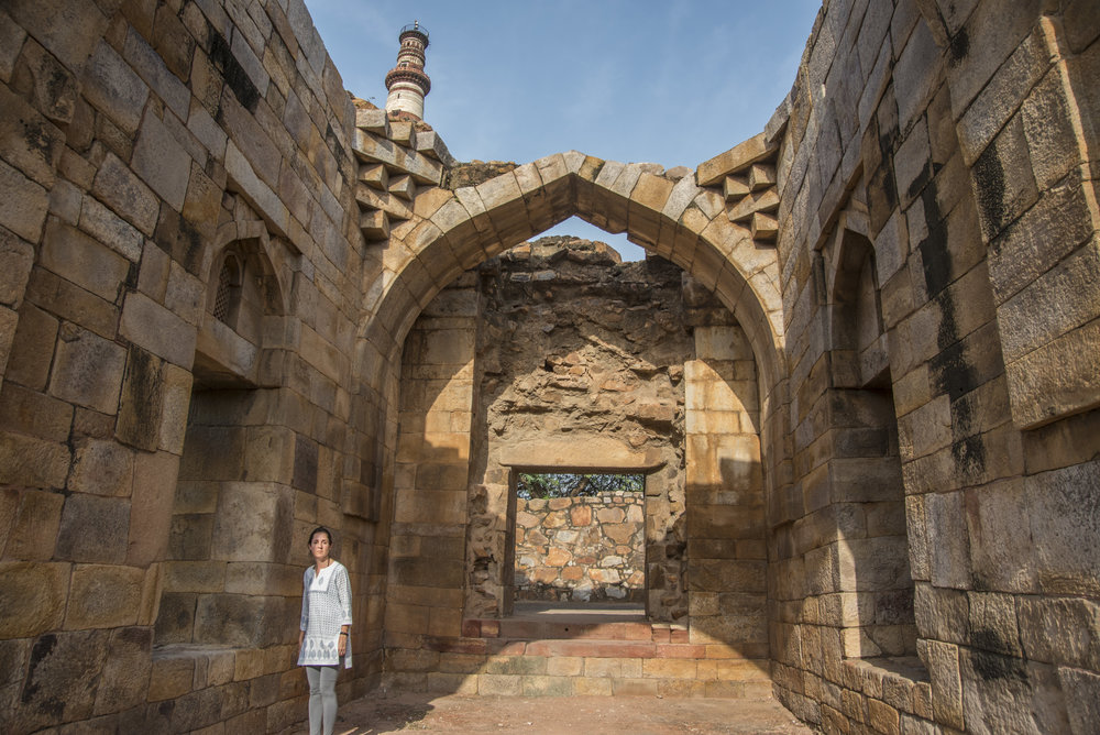 Part of what used to be a religious school, where people now urinate. But not Shannon. (Qutb Minar, Delhi, India; Aug 2017)
