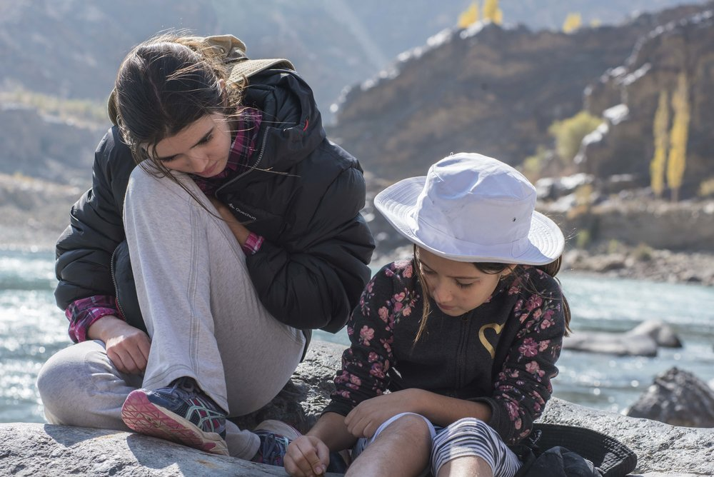 Sisters who write on rocks together, stay together. (Saspol, India; Oct 2017)