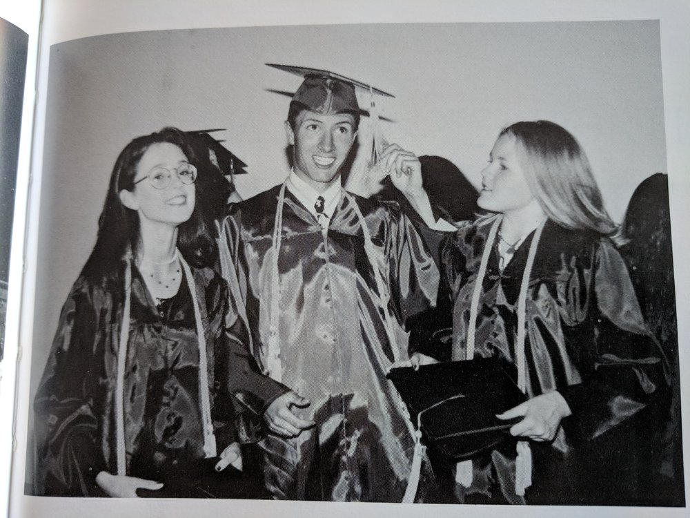 Proof that I graduated from high school. Or, at least proof that I hung out with people who graduated and they let me wear their clothes temporarily. Jessica there on the left married my best friend. I'm very cool with that.