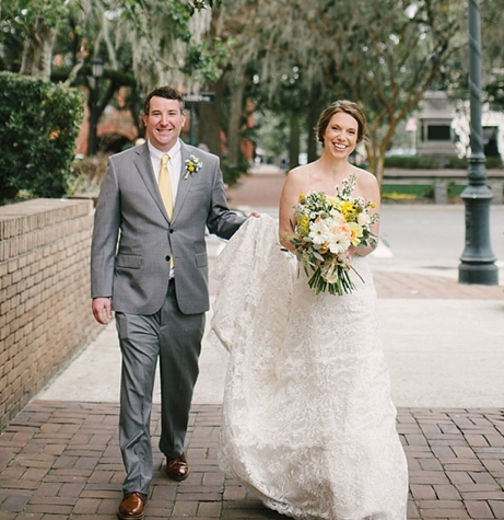 """We will be forever appreciative for everything the Ivory and Beau team did to make our wedding day nothing short of spectacular!  We had a 75-guest destination wedding at Savannah's Charles Morris Center in March, and we hired this talented team for day-of wedding coordination and florals. The day-of wedding coordination went beyond that scope, and this fantastically networked team helped connect us with the majority of our wedding vendors based on the budget we set up for each. Every vendor they recommended did a flawless job, and it made the wedding planning process all the easier by eliminating the need to research and interview countless vendors to find the most reputable one.  They helped execute our vision for the ceremony décor by giving advice on what we could do, but were also very open to recreating ideas we pulled from websites and Pinterest, even those ideas they'd never tried before! I would say their most creative DIY trick was the hanging wall of lanterns they created as a backdrop for our wedding ceremony – just perfect in every way and practical, as they were able to repurpose the lanterns as centerpieces for our reception tables.  When the weather took a turn for the worst the day before our wedding, they helped us regroup and pulled together a back-up plan to move our outdoor ceremony under the same enclosed tent space where our cocktail hour was scheduled.  They orchestrated every detail of our wedding day with such effortless precision, we never had to think about a single detail on our wedding day and could fully live in every moment of our big day! It was one of the best financial investments we made toward our wedding, and we would recommend the Ivory and Beau team to any bride for both wedding coordination and floral needs.""  -Krista >  see their wedding ."