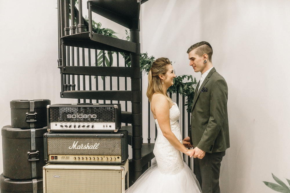 One of my favorite shoots we have ever done was at a music studio and so of course we named it Stairway to Matrimony. Can't wait to share more from this fun one - also features our Blush by Hayley Paige gown! Photography: Mackensey Alexander