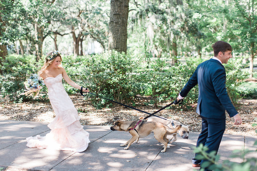 When a bride rocks a pink polka dot dress you just know their wedding is going to be the cutest most fun wedding you've ever seen. Plus they did their first look with their dogs AND she wore Harry Potter Toms... Yup. These guys were fun and more rad than either myself or Adrienna will ever be. Photography by  Apt B Photography .