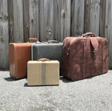 "Suitcases Large: 17"" Height; 24""Width Medium Brown:  15"" Height; 21"" Width Medium Grey: 14"" Height; 20.5"" Width Small: 8.5"" Height; 11"" Width $7/each $25/Bundle of Four // Qty: 1 S, 2 M, 1 L"