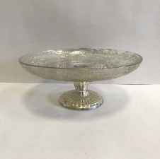 "Silver Cake Stand 9.5"" Width; 2.5"" Base Height Silver Mercury Cake Stand $3.5/each // Qty: 1"