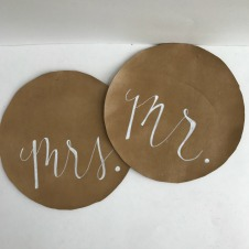 "Mr. & Mrs. Charger Toppers Width 13"" $.50/set // Qty: 1 set"