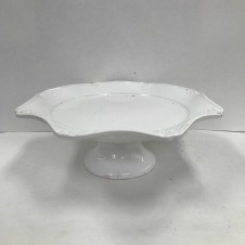 "White Scalloped Cake Stand Height 3.75""; Width: 13.25"" $3/each // Qty: 1"