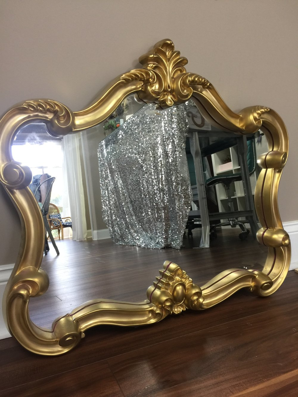 "Gold Framed Mirror Height: 26"" Width: 29.5""  $20/each // Qty: 1"