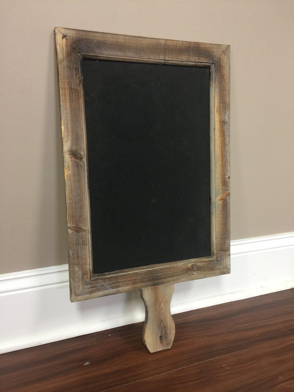 "Chalkboard Paddle    Chalkboard Height: 16.5"" Chalkboard Width: 11""    Paddle Height: 25.5"" Paddle Width: 14.5""   $5/each // Qty: 1"