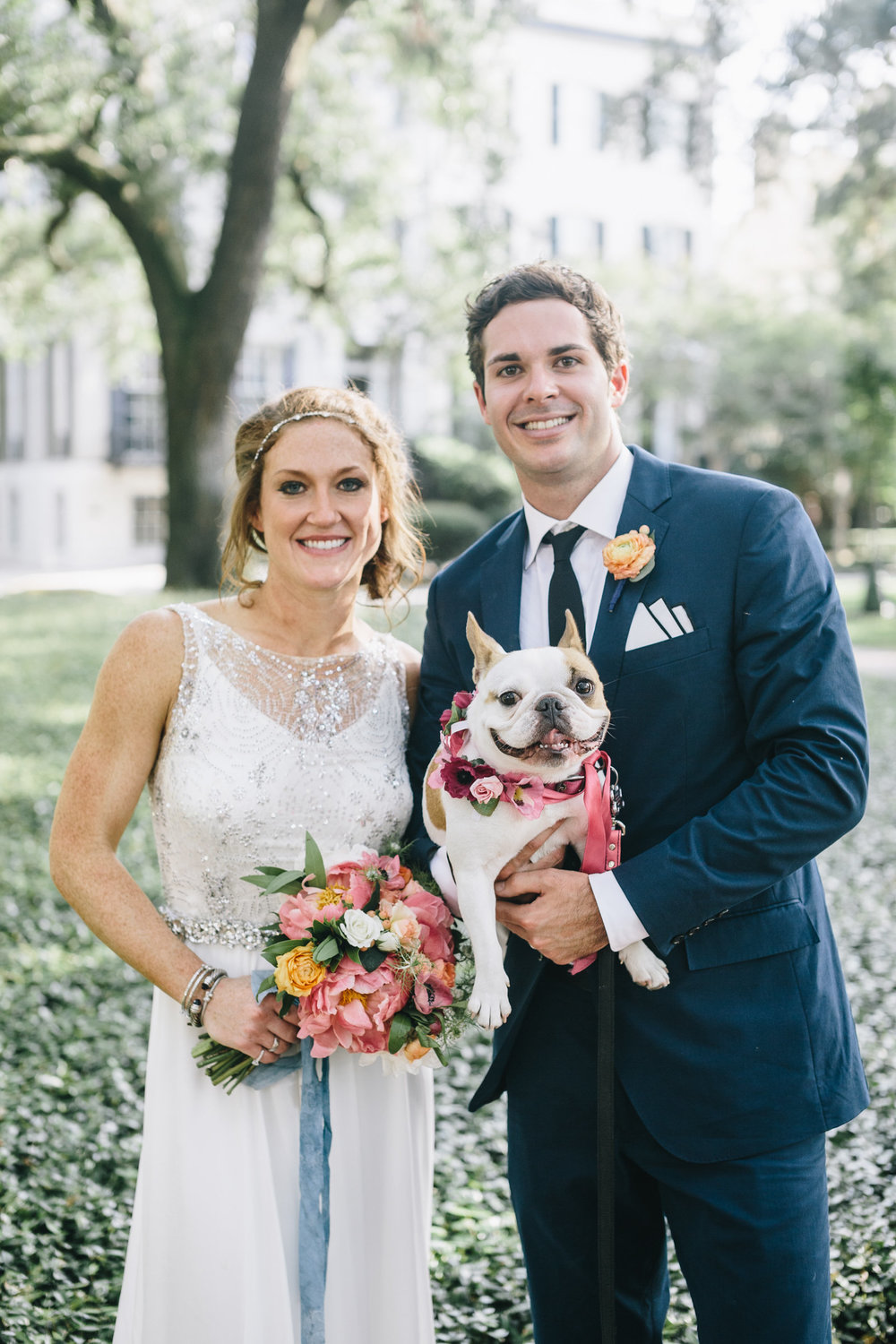 JORDAN'S PINK & BLUE FLORAL WEDDING WITH A PUP
