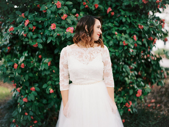 BRITTANI'S LACY TOP AT HER NAVY & GOLD WEDDING