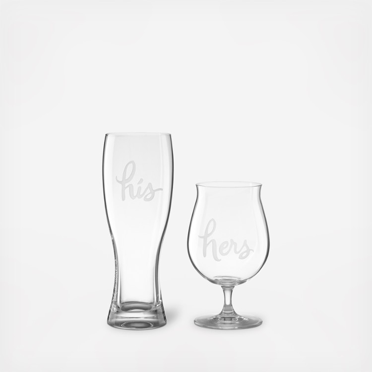 "I am a total sucker for anything from Kate spade and these ""His"" & ""Hers"" beer glasses are super freaking cute. I can just imagine snuggling up with my honey outside by the fire sipping on a fancy craft beer."