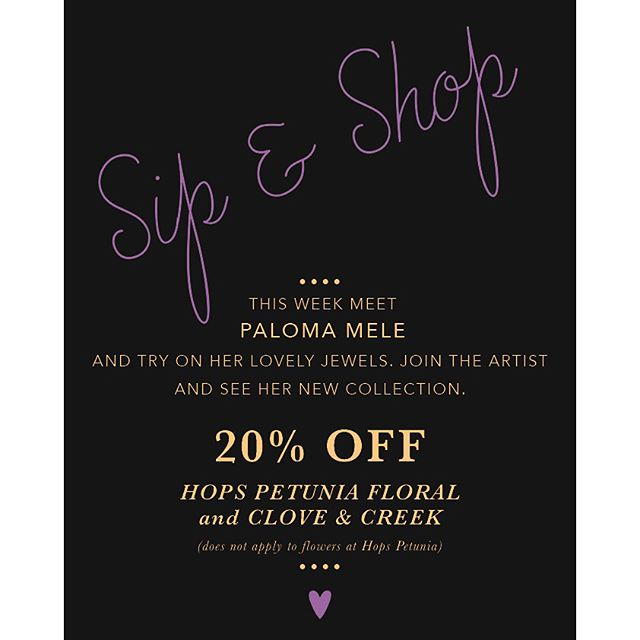 Tomorrow night!! Aug 17th 5-7pm Sip & Shop time!!! Meet @palomamelejewelry and see her new work. DISCOUNTS! FREE DRINKS!#sipandshopseries #broadwayneighbors