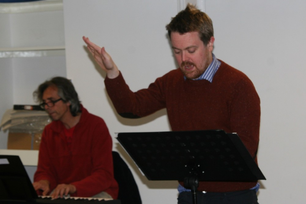 Karl with pionist Andrew chadney in rehearsal