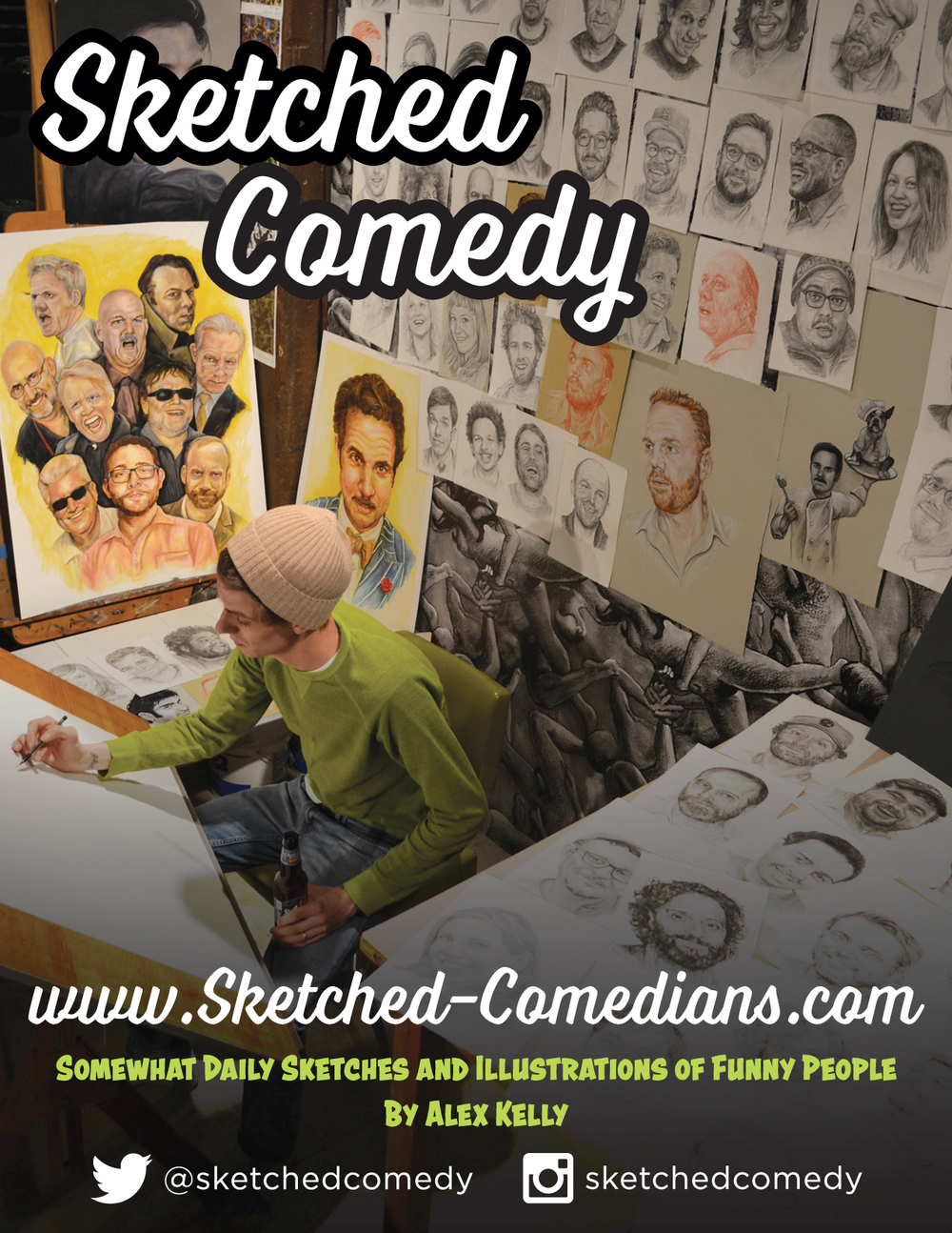 ALEX KELLY is an artist from Cleveland OH who sketches some of the most detailed and wonderful portraits of comedians. He is compiling them into a book for you to put out and impress people with. He's done major work for national acts like John Roy, James Adomian and more.